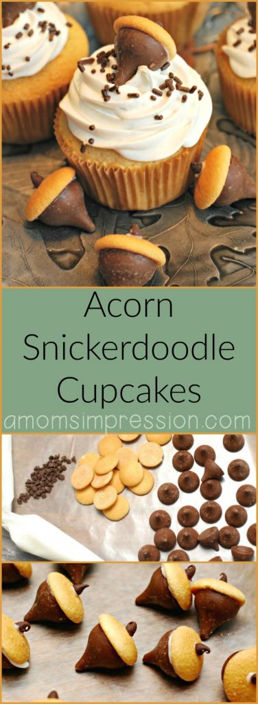 Looking for easy, classic fall dessert recipes that aren't pumpkin or apple? These cute acorn snickerdoodle cupcakes are perfect for feeding your family or a crowd this autumn.