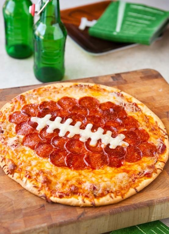 Football Peperoni Pizza by EclecticRecipes.com #recipe
