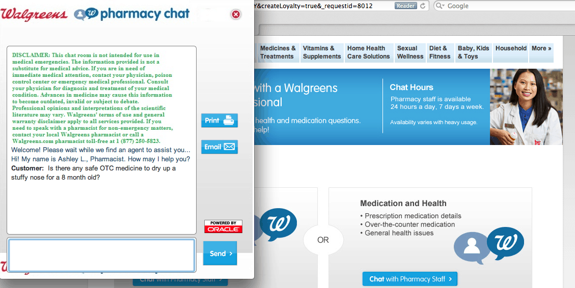 Walgreens 24/7 Pharmacy Chat