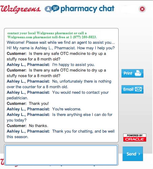 Walgreens 24/7 pharmacy chat
