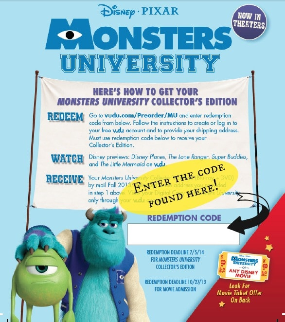 Monsters U Pre order Redemption