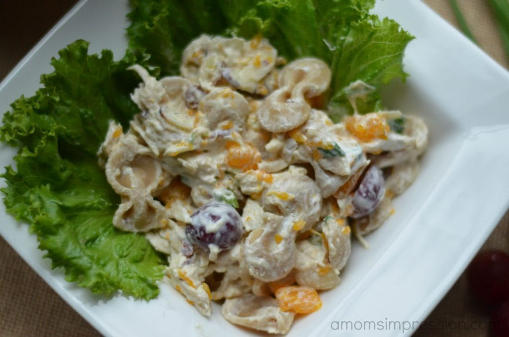 Fruit and chicken pasta salad