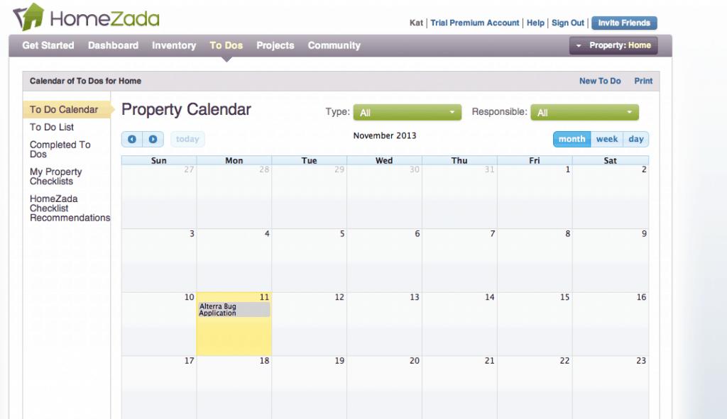 HomeZada Calendar