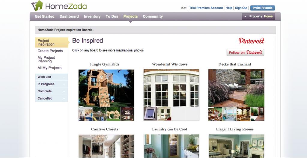 HomeZada Project Inspiration