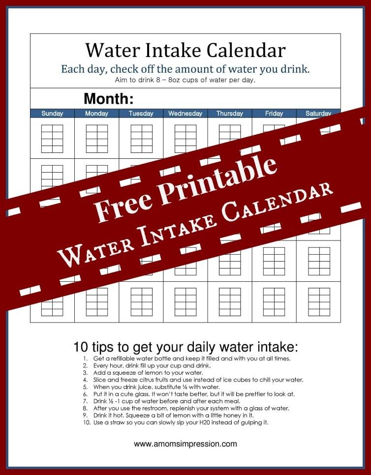 Water Intake Calendar Pin