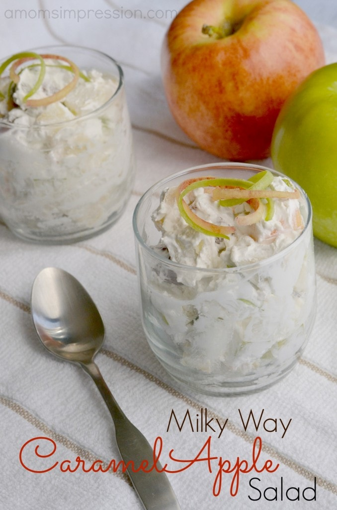 Wow your guests with this delicious Milky Way caramel apple salad recipe! It's a great dessert recipe for any occasion. #ad