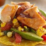 Salmon Tostada with Chamoy and Charred Corn Relish Recipe #FlavorStory #CincodeMayo