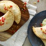 Shrimp and Queso Fresco Empanadas with Charred Tomatillo Sauce