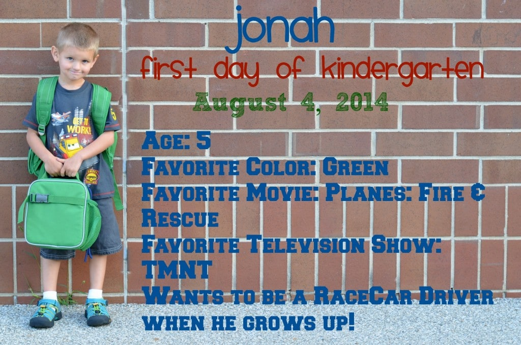 Jonah First Day of School