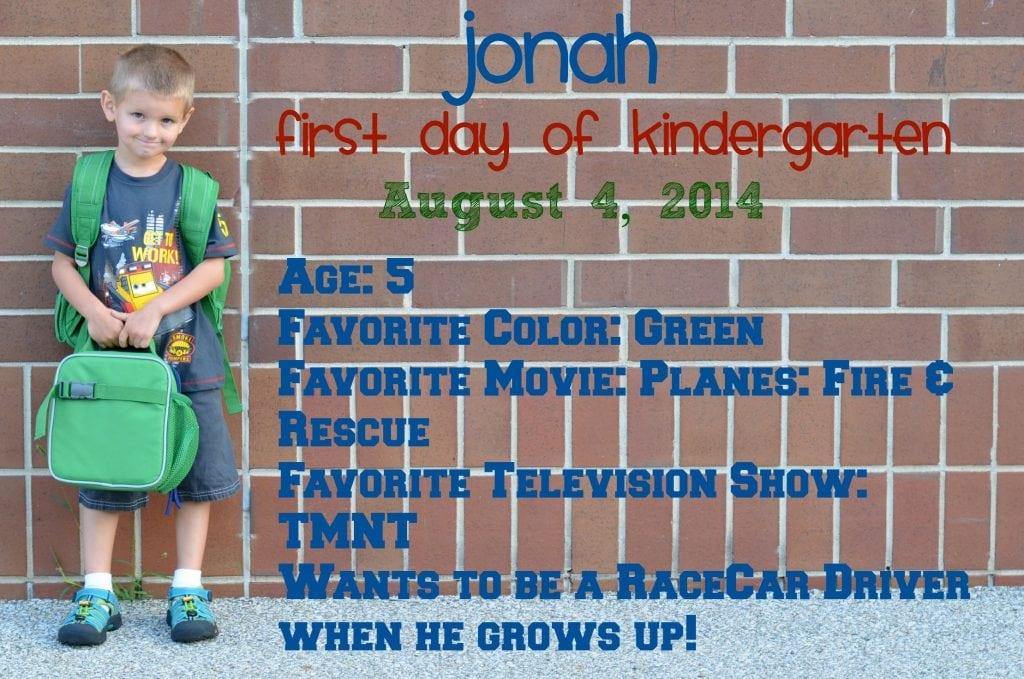 Jonah First Day of School