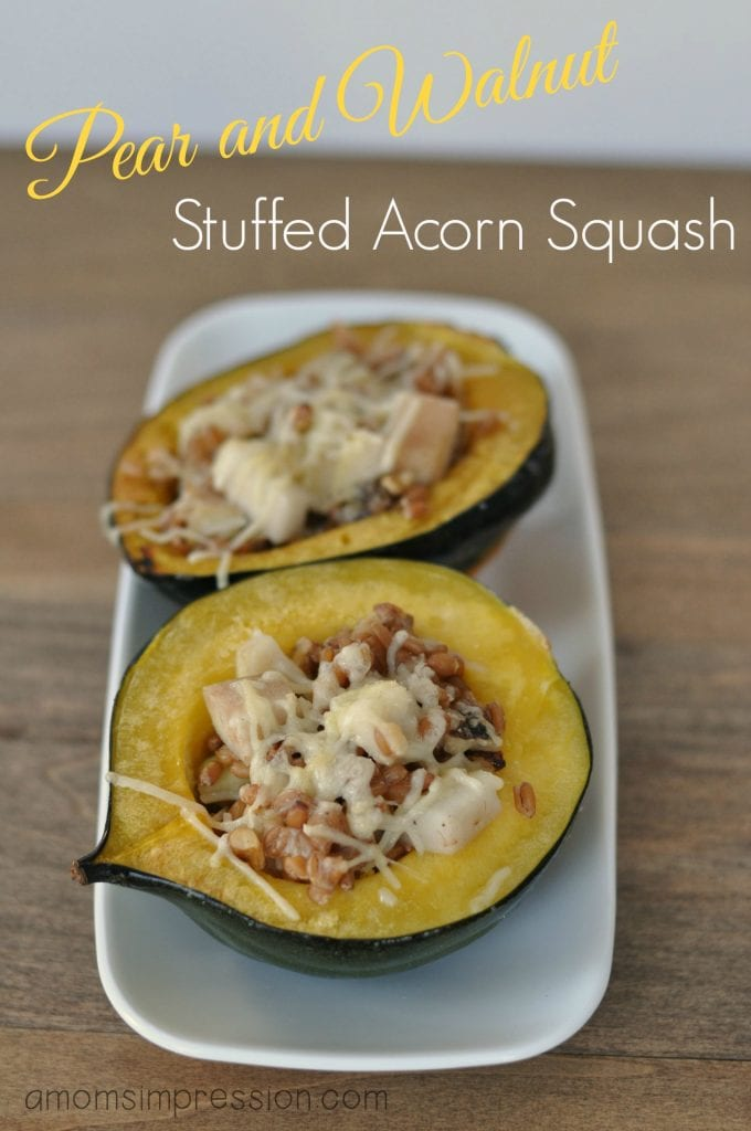 If you're looking for acorn squash recipes to use up all that yummy acorn squash - this pear and walnut stuffed acorn squash will blow you away! This is a hearty vegetable side dish recipe that is sure to please a crowd!