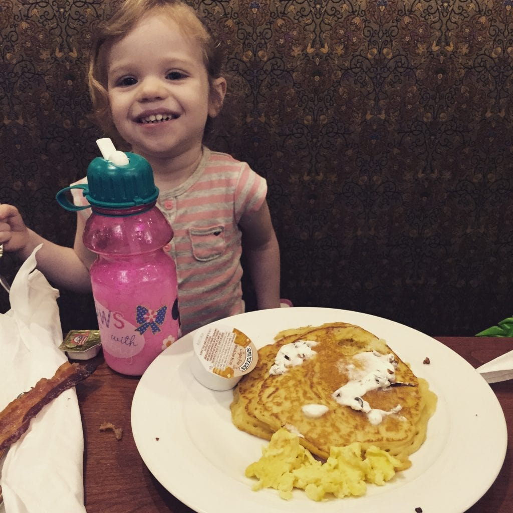 Caroline loved her special pancakes and eggs that the staff prepared for her!