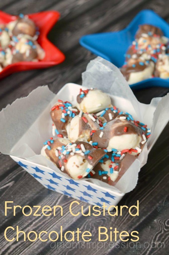 Frozen Custard Chocolate Bites labeled