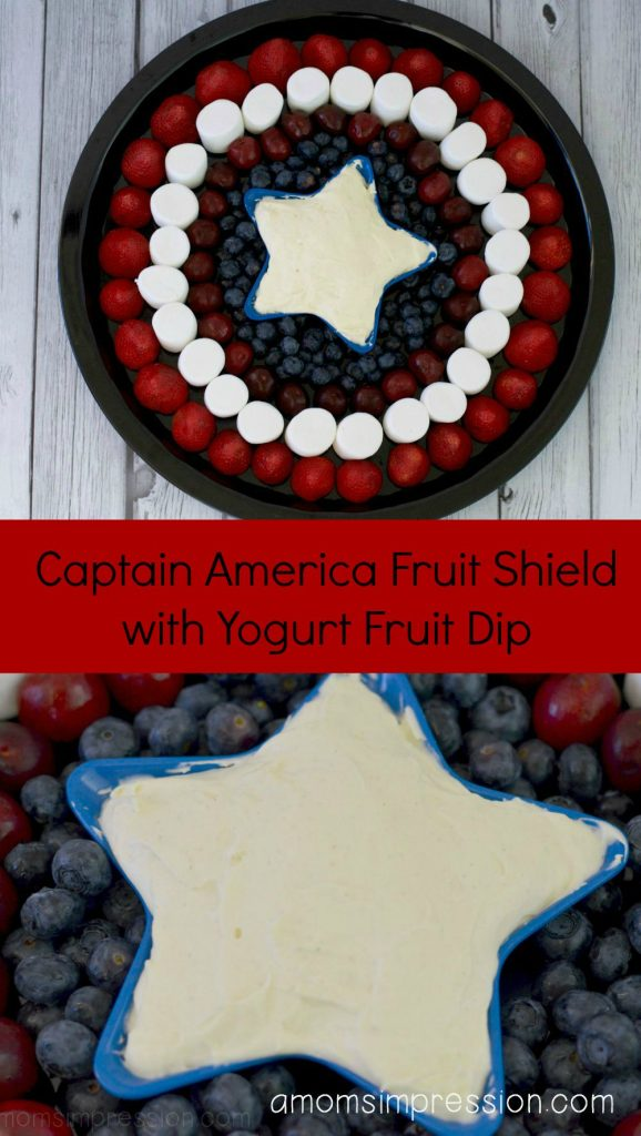 Make your own Captain America Fruit Shield with Yogurt Fruit Dip for your next superhero party or 4th of July gathering. Easy to follow tutorial.