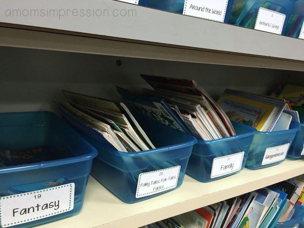 classroom library bins