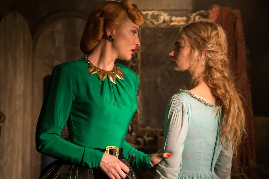 Lily James is Cinderella and Cate Blanchett is the Stepmother in Disney's live-action feature CINDERELLA which brings to life the timeless images from Disney's 1950 animated masterpiece as fully-realized characters in a visually dazzling spectacle for a whole new generation.