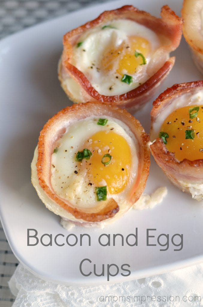 Bacon and egg cups are easy to make for breakfast. Bake in a muffin pan for easy clean up. One of the best recipes I have tried for eggs.