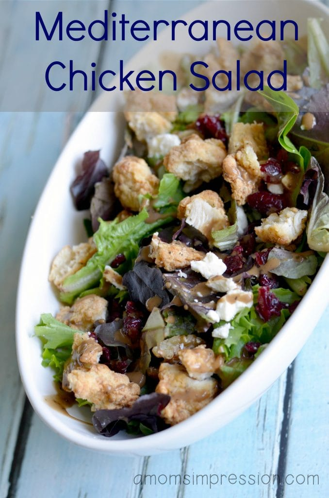 Squeeze a healthy meal in for lunch or dinner with this mediterranean chicken salad! This salad recipe is great for parties, too. This is a must-have addition to your healthy recipes! #ad