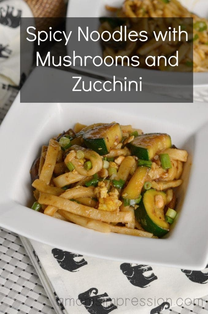 These easy spicy noodles with mushrooms and zucchini are a perfect weeknight dinner recipe for winter because it'll warm you right up! #ad