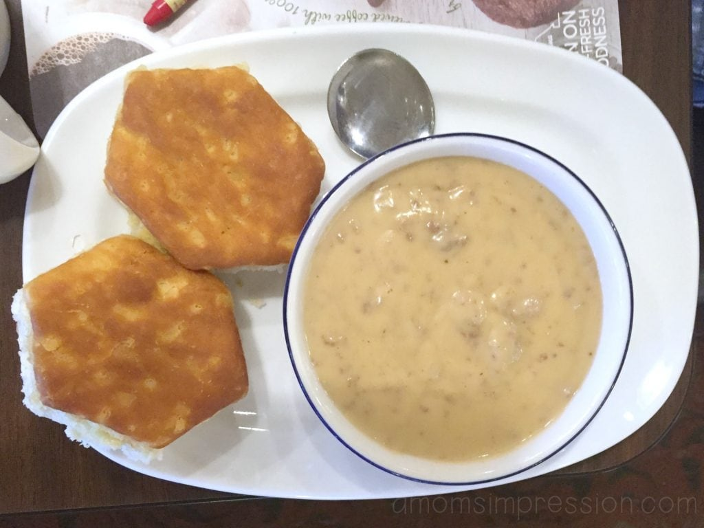 biscuits with some sausage gravy