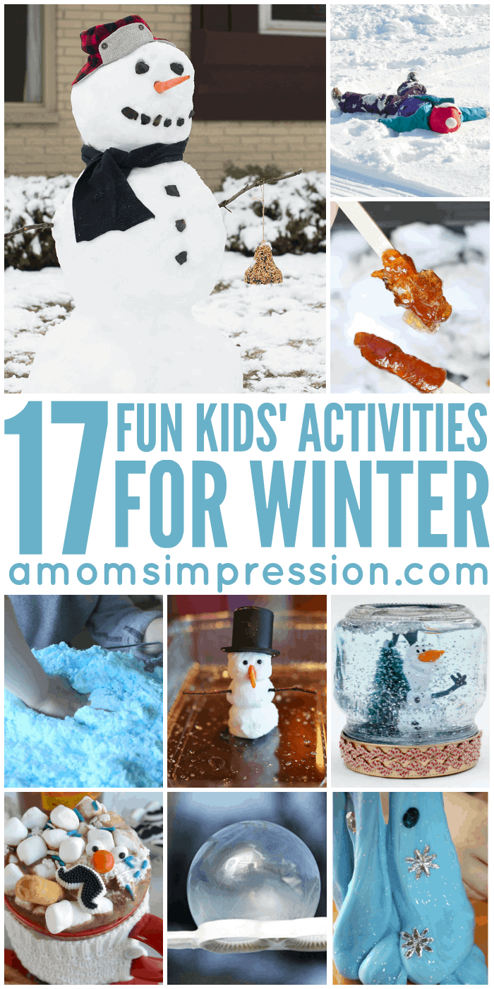 Looking for fun activities to do with the kids this winter? This collection features both indoor and outdoor crafts, art projects, and gross motor activities to keep kids active during the cold months. #8 is brilliant!