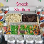 It's football season! Create this simple snack stadium to showcase your game day food. This game day recipe is a party-pleaser for sure! This snack stadium DIY is great for Super Bowl parties too! #ad #football