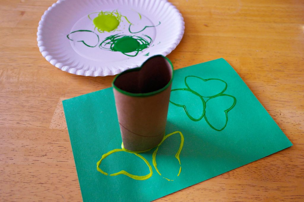 Toilet Paper roll shamrock stamp