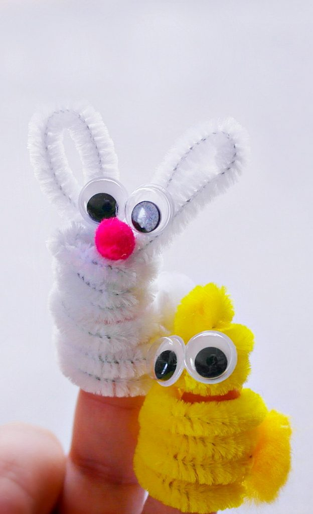 bunny and chick puppet