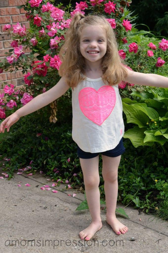Girl in heart tee shirt