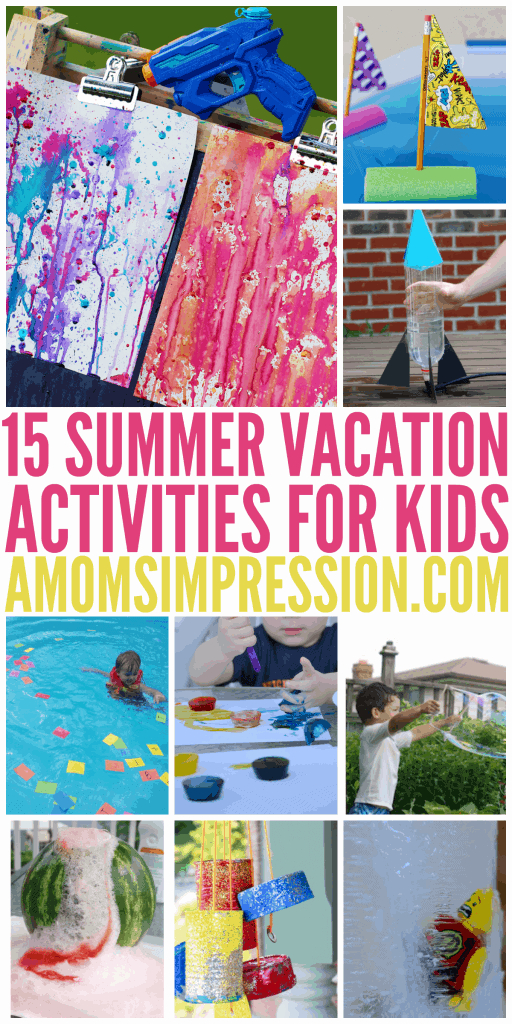 Summer Vacation Activities for Kids involve all things wet, messy and just plain fun. Here are some simple activities to do with your kids!