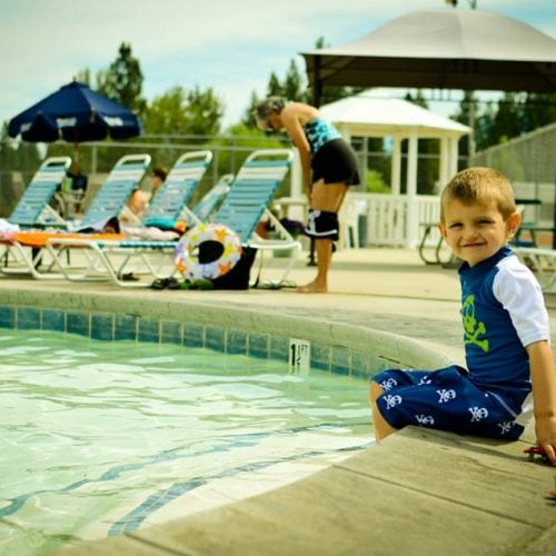 Swimming at the pool