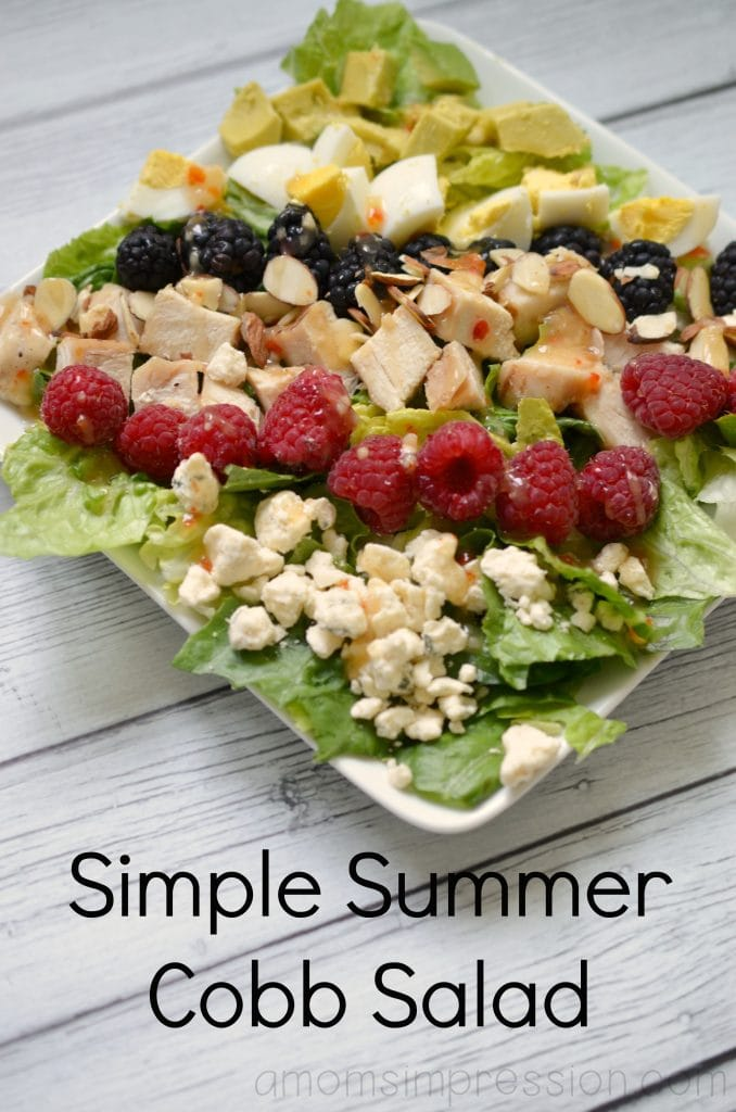 This simple summer cobb salad recipe is perfect for those summer gatherings! It's a great healthy recipe for those warm summer days and makes a great healthy lunch or dinner. #ad