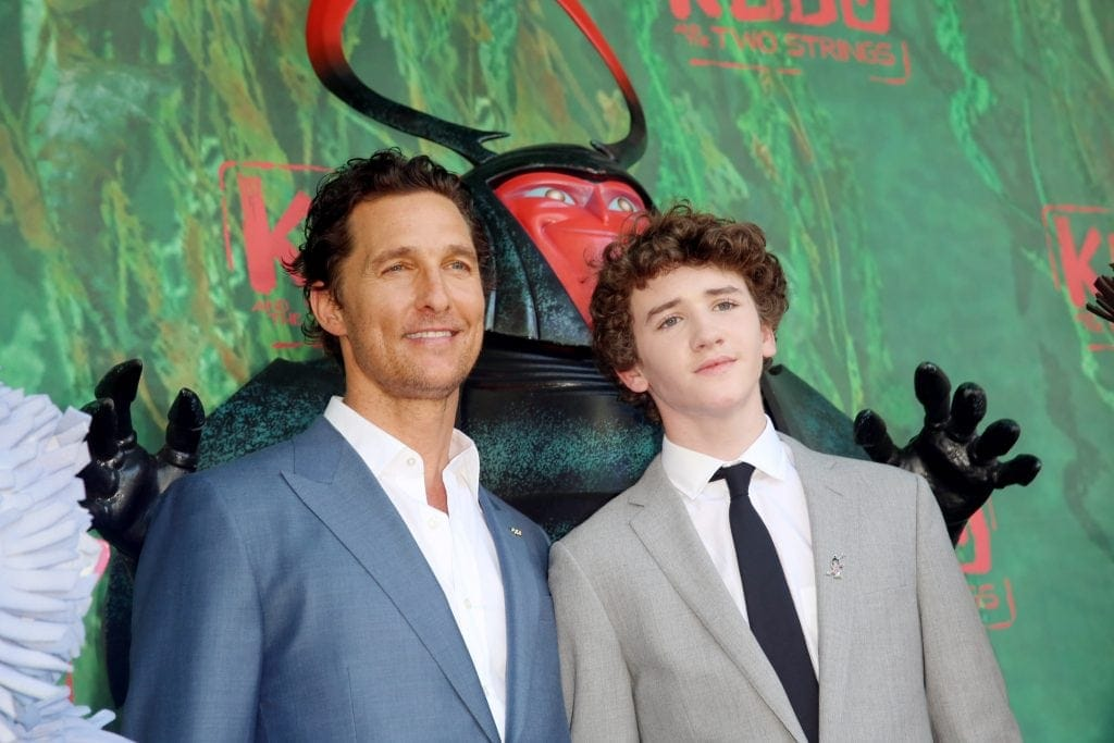 "Matthew McConaughey, Beetle and Art Parkinson seen at Focus Features Los Angeles Premiere of LAIKA ""Kubo and The Two Strings"" on Sunday, Aug. 14, 2016, in Universal City, Calif. (Photo by Blair Raughley/Invision for Focus Features/AP Images)"