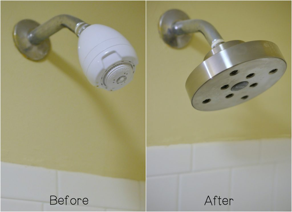 Before and After modern shower head fixture