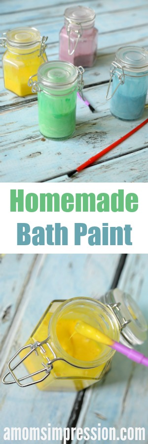 Homemade Bath Paint is easier than you might think to make at home. With only three ingredients you will have fun bath paint made for your kids in minutes.
