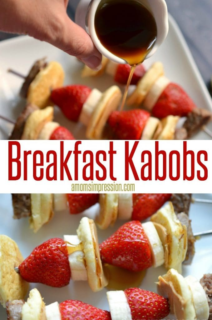 Quick and Simple Breakfast Kabobs recipe with sausage, mini-pancakes and fruit. This family-friendly recipe will please everyone in the family and quickly become a favorite.