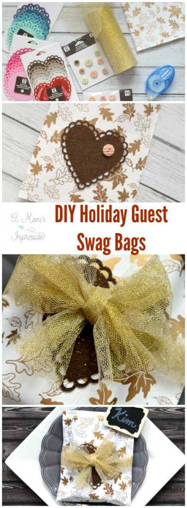 Trying to decide on a hostess gift to your guests for Thanksgiving this year? These holiday hostess DIY swag bags are the perfect little DIY gift for your guests! #ad #Thanksgiving