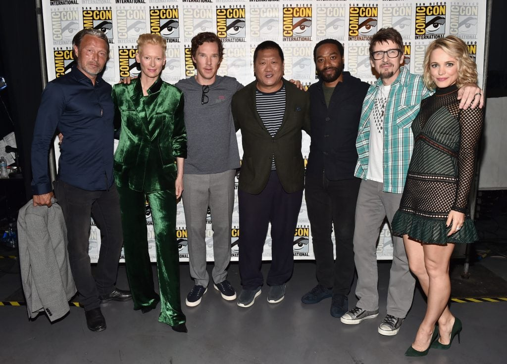 "SAN DIEGO, CA - JULY 23: (L-R) Actors Mads Mikkelsen, Tilda Swinton, Benedict Cumberbatch, Benedict Wong, Chiwetel Ejiofor, director Scott Derrickson and actress Rachel McAdams from Marvel Studios ""Doctor Strange attend the San Diego Comic-Con International 2016 Marvel Panel in Hall H on July 23, 2016 in San Diego, California. ©Marvel Studios 2016 (Photo by Alberto E. Rodriguez/Getty Images for Disney) *** Local Caption *** Mads Mikkelsen; Tilda Swinton; Benedict Cumberbatch; Scott Derrickson; Rachel McAdams; Chiwetel Ejiofor; Benedict Wong"