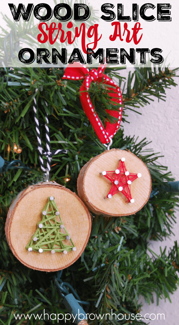 Christmas Ornaments to make with natural wood slices