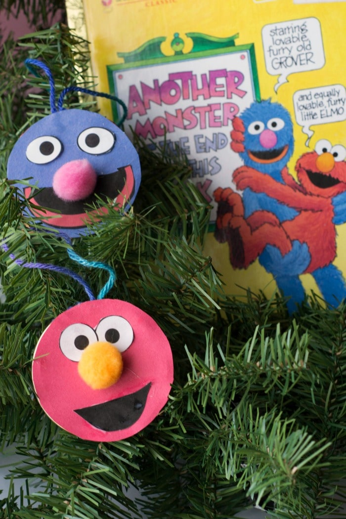 how to make christmas ornaments with sesame street characters Grover and Elmo