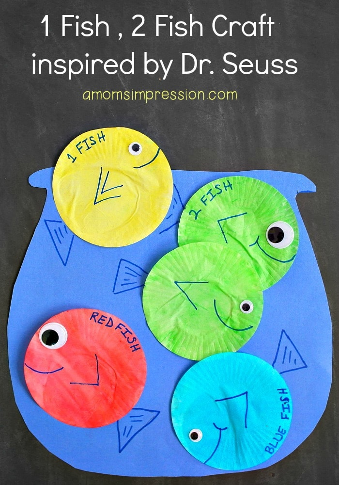 Celebrate Dr. Seuss with this 1 Fish 2 Fish Red Fish Blue Fish craft for kids that's adorable and can be made with mostly things you have on hand already!