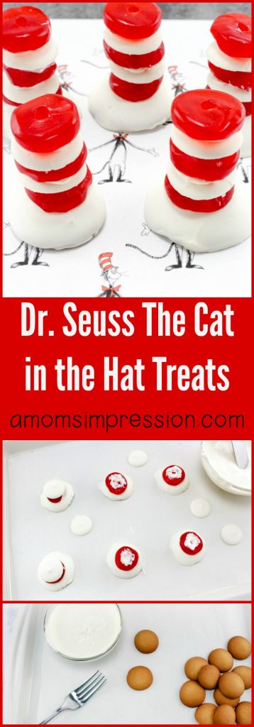 These Dr. Seuss Cat in the Hat treats are perfect for Cat in the Hat birthday parties, Dr. Seuss baby showers, and more! They are so easy to make and super tasty to boot!