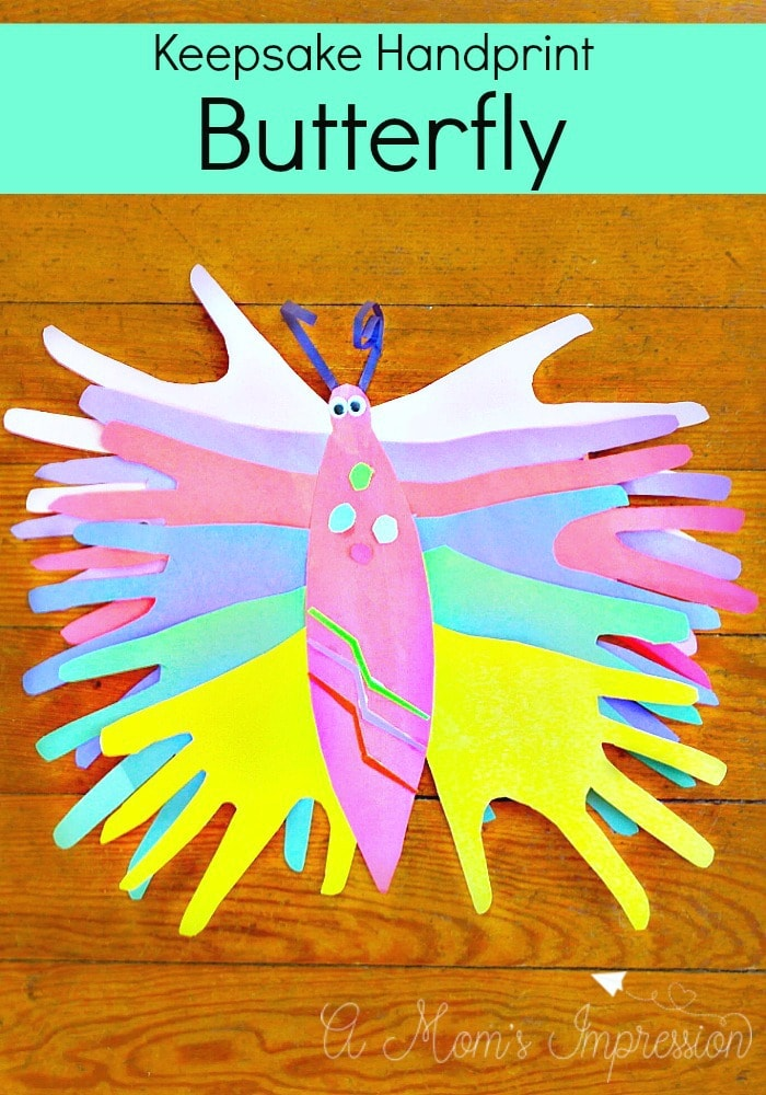 Welcome spring with this adorable paper handprint butterfly craft for kids! This is a great easy craft to help keep the boredom at bay!