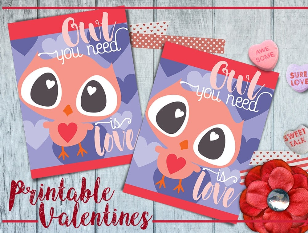Free Printable Owl Valentine Cards - Four Cards to a Page