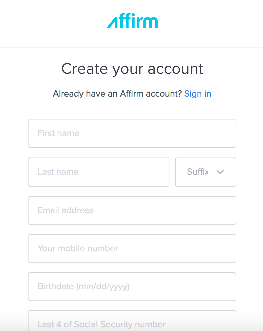 How to create an account with Affirm