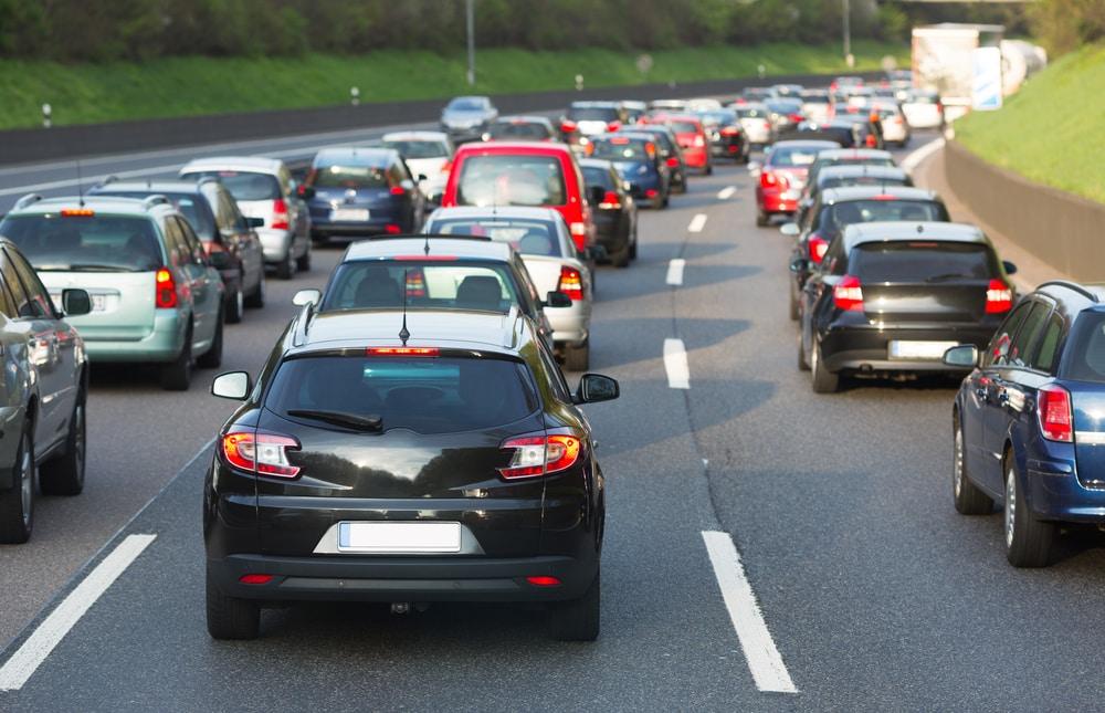 Traffic jam on a freeway