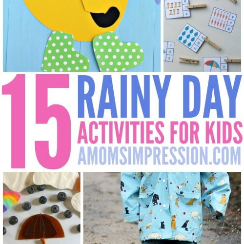 Here comes the rain! These 15 rainy day activities for kids are sure to brighten up a gloomy day and entertain the kids so they won't get stir crazy!