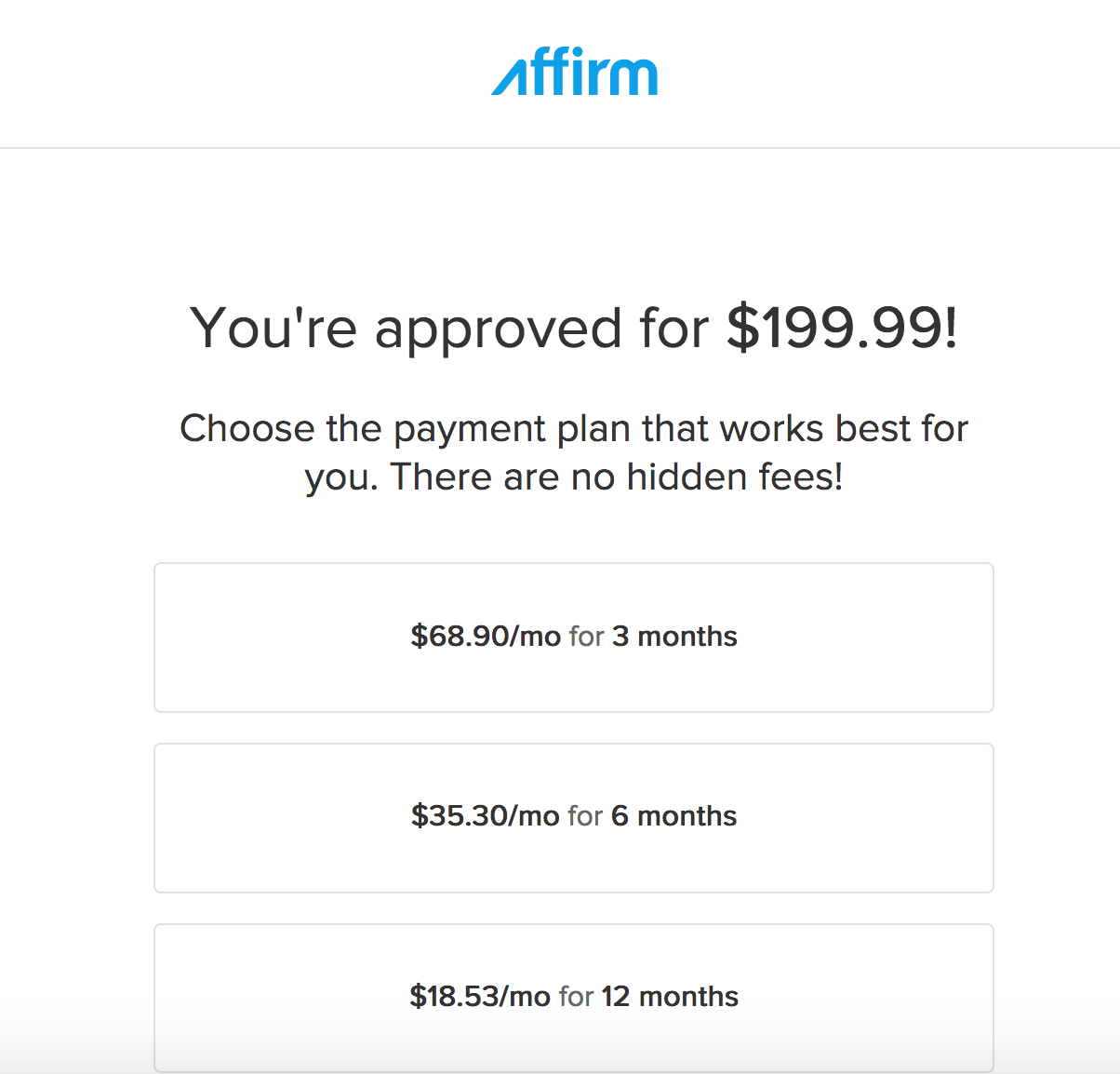 Affirm approval process