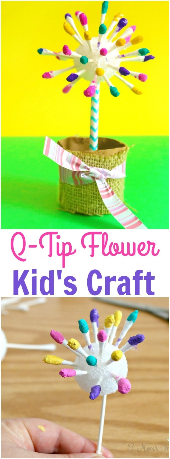 Easy Flower Crafts for Kids - Adorable Q-Tip Flower