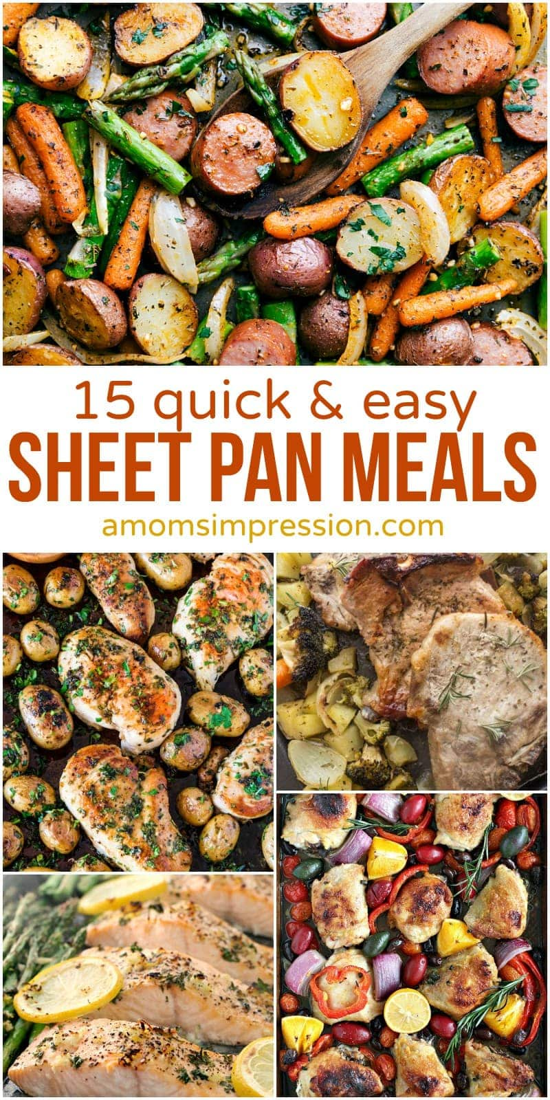 Clean up is a breeze when you make all your healthy meals on one sheet pan. Simplify your dinner with these quick and easy sheet pan recipes for chicken, beef, shrimp, sausage, and vegetables.